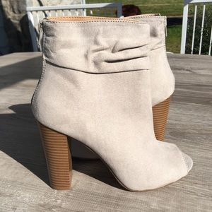 NWT Express faux suede open toe booties ankle boot